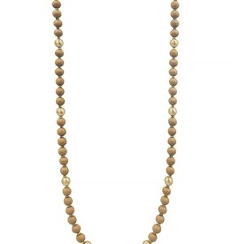 What's Hot Serendipity Necklace, Mocha Wood & Gold Beads