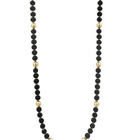 What's Hot Serendipity Necklace, Black Wood & Gold Beads