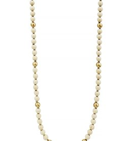 What's Hot Serendipity Necklace, Natural Wood & Gold Beads