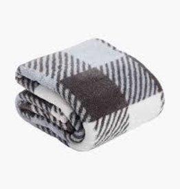 Vera Bradley Vera Bradley, Plush Shimmer Throw Blanket Neutral Buffalo Check FINAL SALE