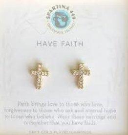 Spartina 449 Spartina 449, SLV Stud Earrings, Have Faith/ Cross