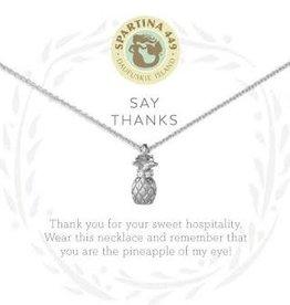 "Spartina 449 Spartina 449, SLV Necklace 18"" Thanks/Pineapple SIL"