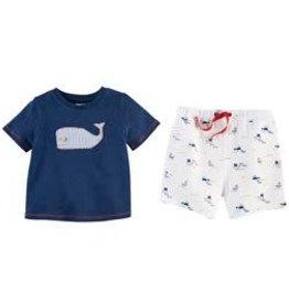 MudPie MudPie Kids, Whale Short Set, Medium (2T-3T)