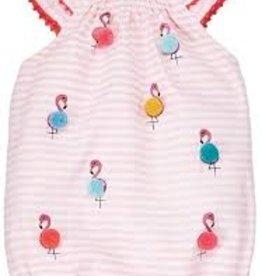 MudPie MudPie Kids, Flamingo Pom Bubble Romper, 3-6 Months