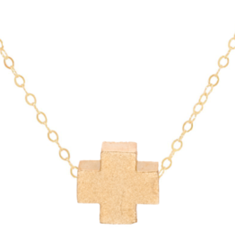 "ENEWTON ENEWTON, Signature Cross Necklace Matte Gold 16"""