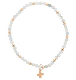 ENEWTON ENEWTON, Aquamarine Sincerity Pattern, 3mm Bead Bracelet , Gold - Signature Cross Gold Charm