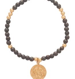 ENEWTON .ENEWTON, Worthy Pattern 4mm Bead Bracelet, Hermatite- Blessing Large Gold Charm