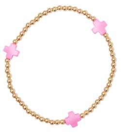ENEWTON ENEWTON, Signature Cross Gold, 3mm Bead Bracelet, Bright Pink