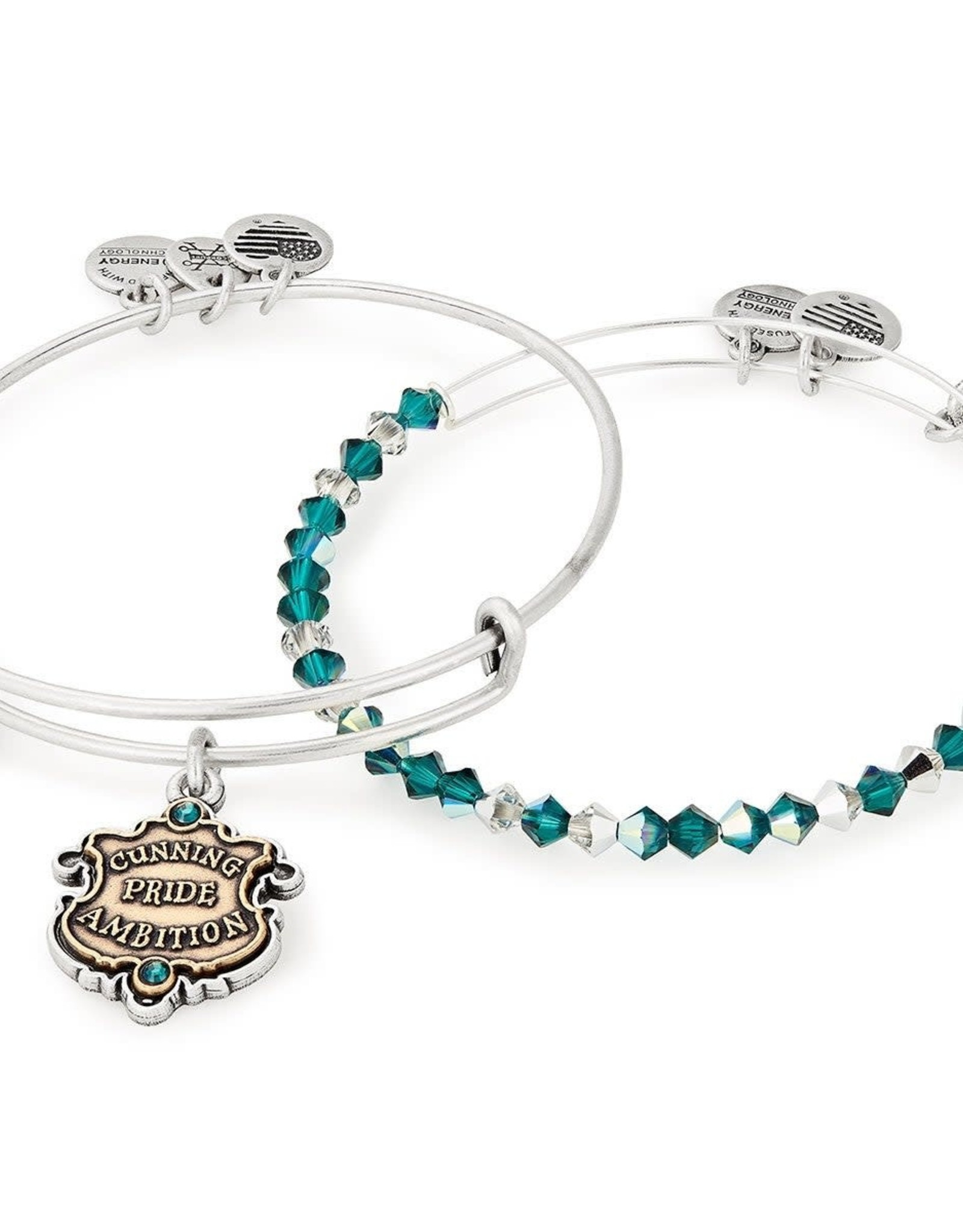 Alex and Ani Harry Potter, Slytherin Motto Set of 2, Two Tone, RS