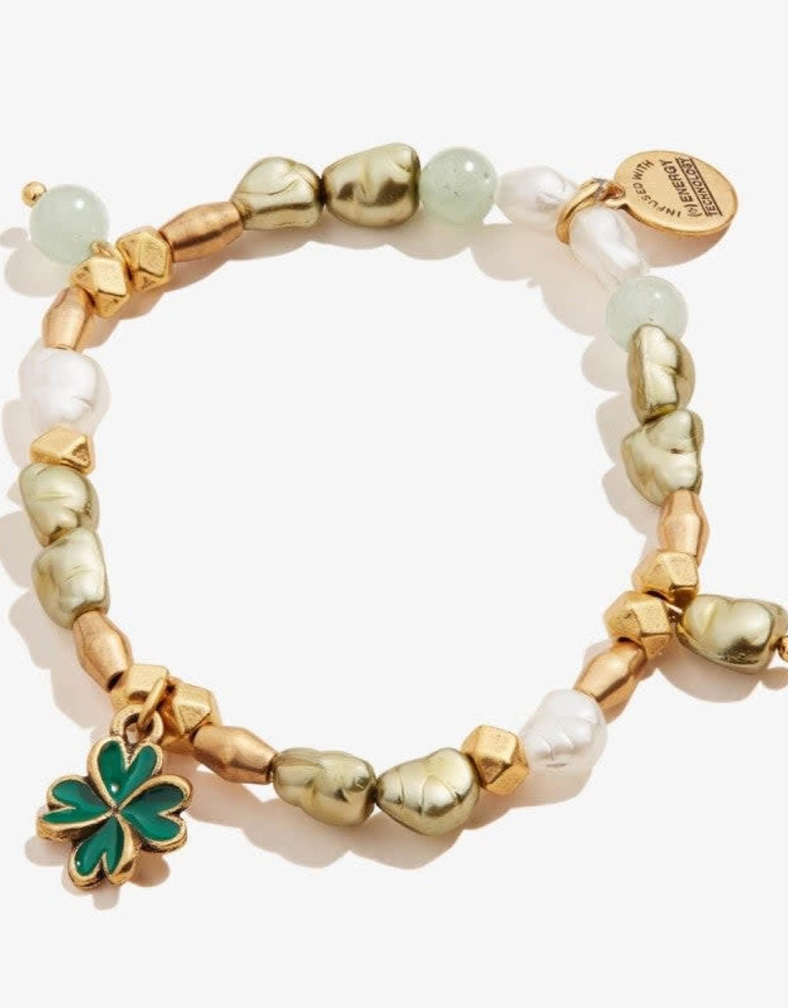 Alex and Ani Four Leaf Clover Beaded Charm Stretch Bracelet Shiny Gold FINAL SALE