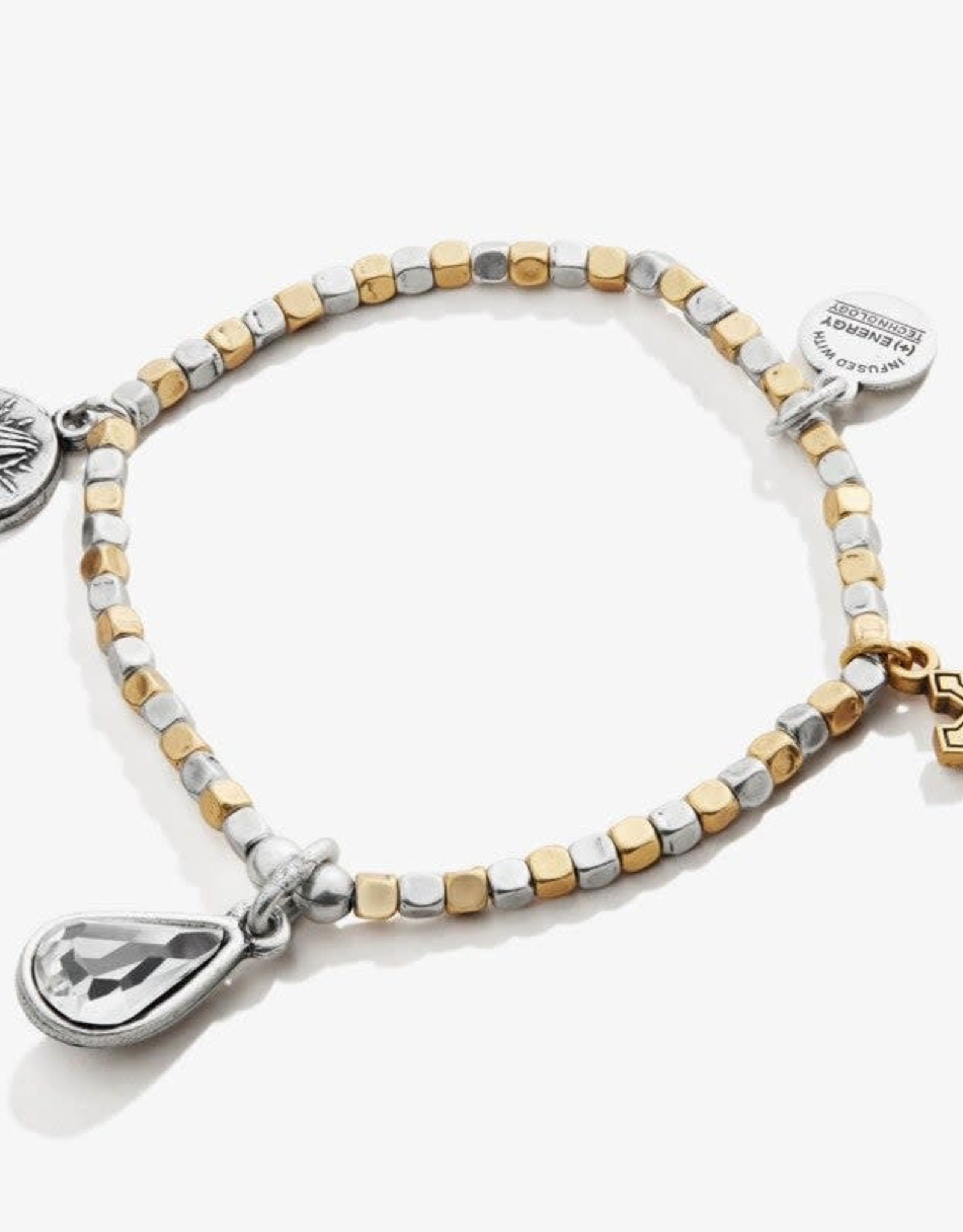 Alex and Ani Faith and Hope Multi Charm Beaded Stretch Bracelet Rafaelian Two Tone