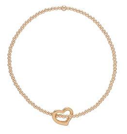ENEWTON ENEWTON, Classic Gold, 3mm Bead Bracelet, Love Gold Charm