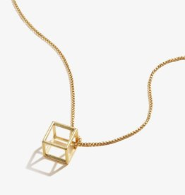 Alex and Ani Square 3D Charm Adjustable 18in Necklace 14kt Gold Plated
