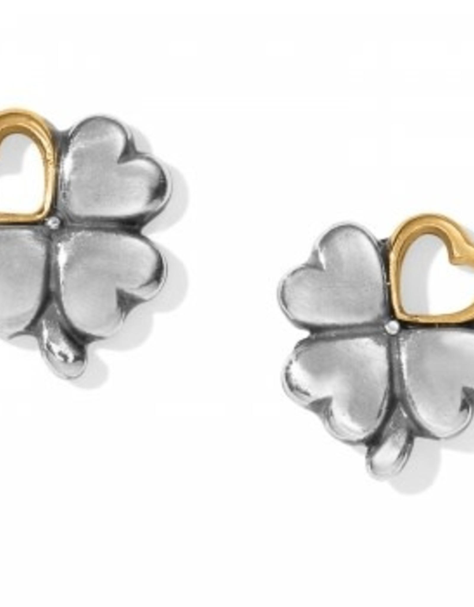 Brighton Brighton, Clover Heart Mini Post Earrings, Silver-Gold