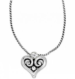 Brighton Brighton, SIL/STN Alcazar Heart Badge Clip Necklace