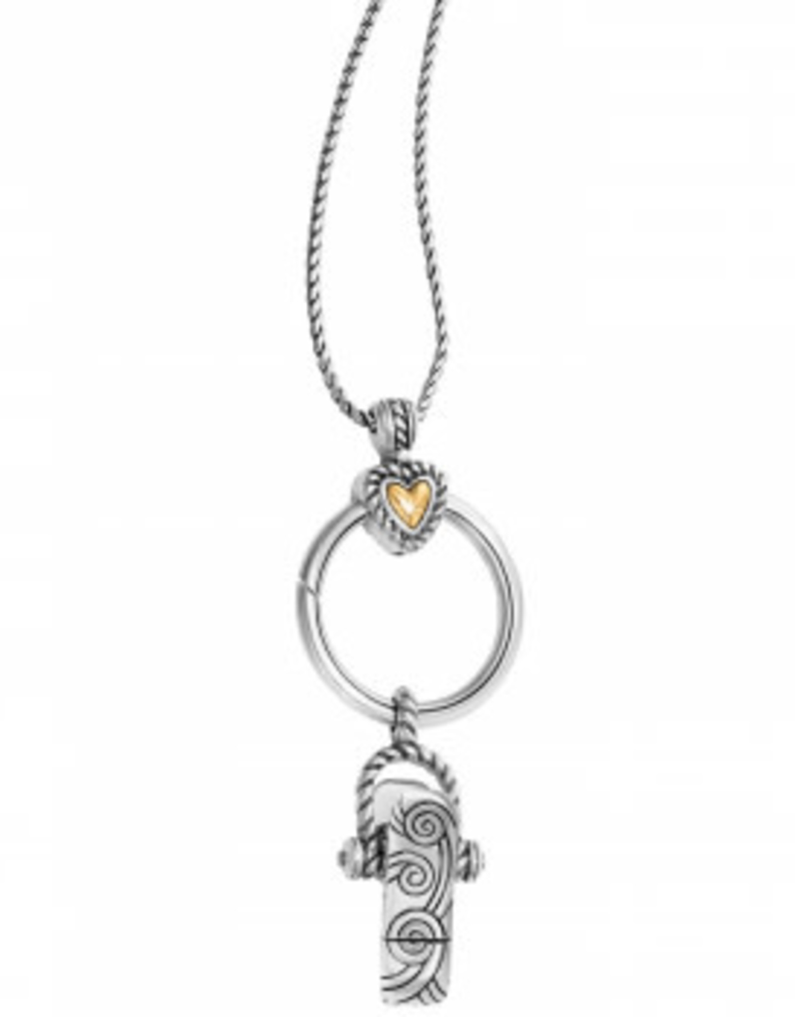 Brighton Brighton, Heart Charm Reversible Badge Clip Necklace silver