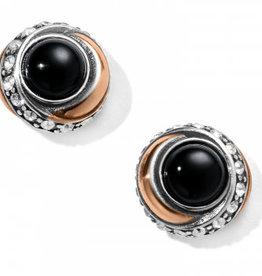 Brighton Brighton, Neptune's Rings Black Agate Button Earrings