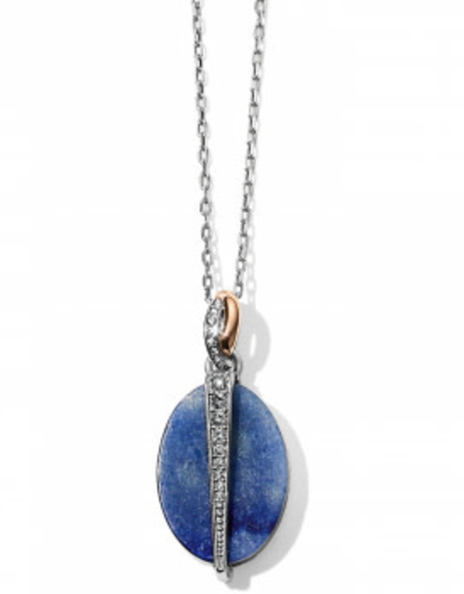 Brighton Brighton, Neptune's Rings Oval Brazil Blue Quartz Reversible Short Necklace