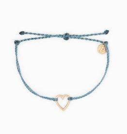 PuraVida PuraVida, Open Heart Bracelet Rose Gold, Dusty Blue
