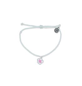 PuraVida PuraVida, Painted Plumeria Silver Bracelet, White