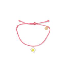 PuraVida PuraVida, Painted Plumeria Gold Bracelet, Candy Pink