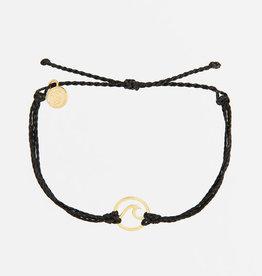 PuraVida PuraVida, Gold Wave Bracelet, Black