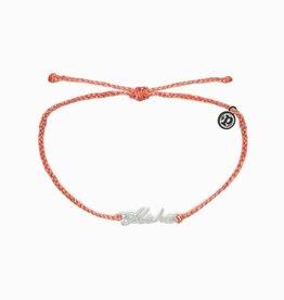 PuraVida Aloha Script Bracelet, Silver, Salmon FINAL SALE
