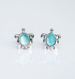 PuraVida PuraVida, Sea Turtle Stud Earrings, Silver