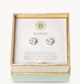 Spartina 449 Spartina 449, SLV Stud Earrings, Blessed/Crystal Clover