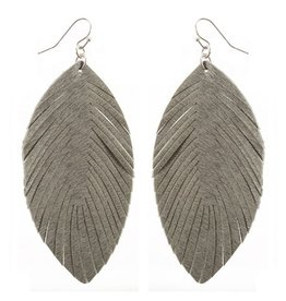 """What's Hot Serendipity Earrings, Grey Leather Feather 2.5"""""""