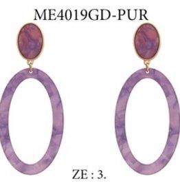What's Hot Serendipity Earrings, Purple Open Hoop Acrylic Drop