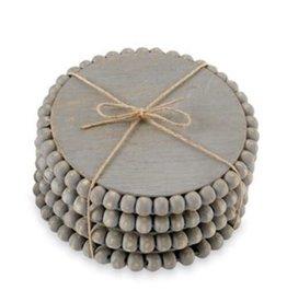 MudPie MudPie, Grey Beaded Wood Coaster (Set of 4)