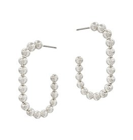 What's Hot Serendipity Earrings, Silver Beaded Oval 1.5