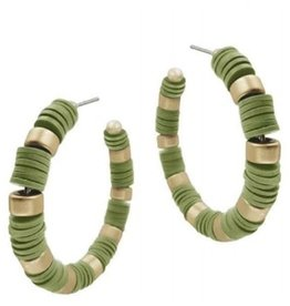 What's Hot Serendipity Earrings, Olive Green Rubber Hoops