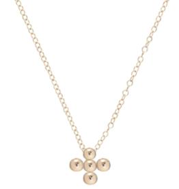 "ENEWTON ENEWTON, 16"" Necklace Gold - Classic Beaded Signature Cross Gold - 3mm Bead Gold"