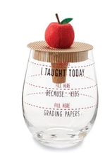 MudPie Apple Teacher Wine Glass Set