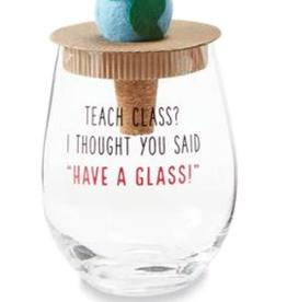 MudPie World Teacher Wine Glass Set