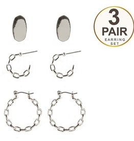 What's Hot Serendipity Earrings, Silver Set of 3 Chain Hoops