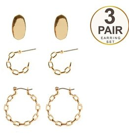 What's Hot Serendipity Earrings, Gold Set of 3 Chain Hoops