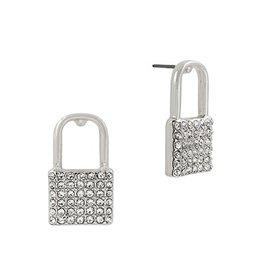 What's Hot Serendipity Earrings, Silver Rhinestone Locket Stud