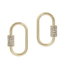 What's Hot Serendipity Earrings, Gold Stud Rhinestone Carabiner