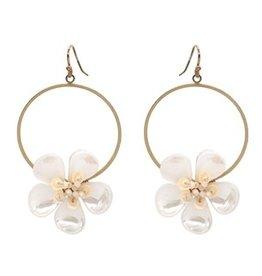 What's Hot Serendipity Earrings, White Acrylic Flower Hoop