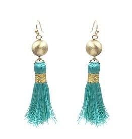 What's Hot Serendipity Earrings, Matte Gold Ball & Teal Tassel