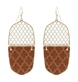 What's Hot Serendipity Earrings, CE2280, Brown Leather Filigree