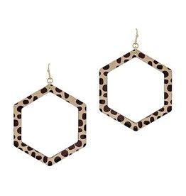 What's Hot Serendipity Earrings, Cheetah Print Wood Hexagon