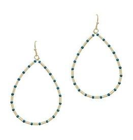 What's Hot Serendipity Earrings, Gold & Blue Beaded Teardrop