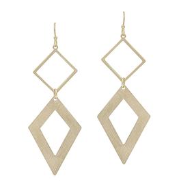 "What's Hot Serendipity Earrings, Matte Gold Double Diamond 2"""