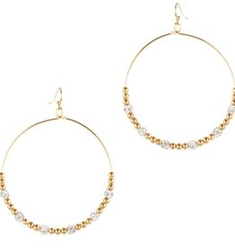 "What's Hot Serendipity Earrings, Open Hoop & Clear Crystal 2"""