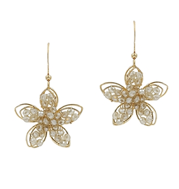 """What's Hot Serendipity Earrings, Natural Crystal Flower 1.5"""""""