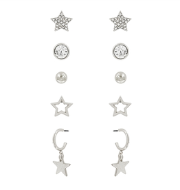 What's Hot Serendipity Earrings, Silver Star Set of 5